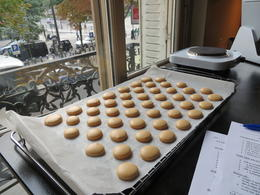 These are the cookies for the salted caramel macaroons. We made two types of macaroons. , Janet R - September 2014