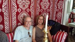 Vanderlei e Celia no almoço em restaurante típico marroquino na cidade de Tânger, muito bom almoço. , Vanderlei - October 2013