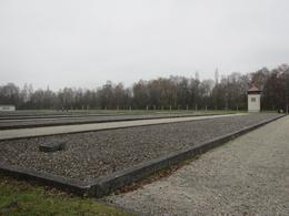 The rectangles represent each bunkhouse with one of the original guard towers standing in the background. The bunk houses were designed to hold 200 prisoners each, however towards the end of the..., Jim P - November 2014