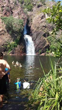 A group of my fellow travellers cooling down in one of the most beautiful places in the NT , Susan B - May 2016