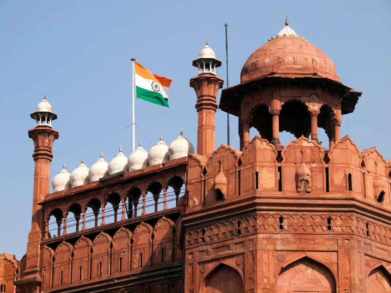 Flag of India flying over the Red Fort in Old Delhi - New Delhi