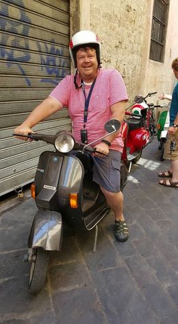 Chris Wyatt ready to take on the Tuscan countryside via Vespa! , Melissa W - August 2015
