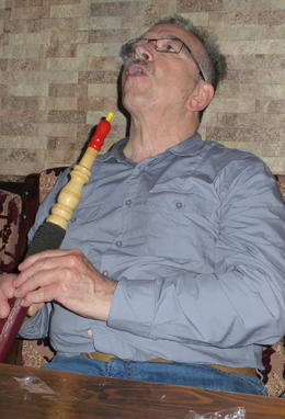 Trying on smoking the shisha, Patricia P - July 2014