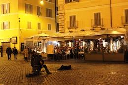 Start of the tour at Campo de Fiori. Live musicians are playing, which was nice. , Summer J - March 2012