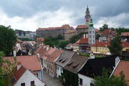 This is a view over the rooftops of the town looking towards the castle on the hill., Valda S - July 2009