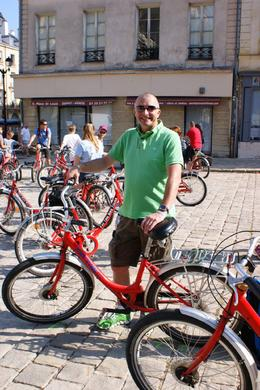 My other half collecting his bike in the square before our adventure... , KAREN T - July 2014