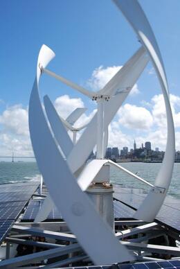 Wind turbines help power the ferry from San Francisco to Alcatraz, Sam B! - April 2014