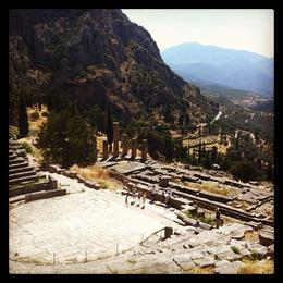 The view from above the theatre at Delphi , Lisa T - June 2014