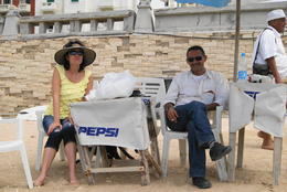 My wife and our tour guide Khaled Lotfy on the beach in Alexandria , John g K - May 2011