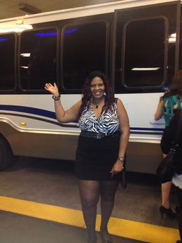 Carolynn posing next to the Rock star Party bus! - January 2014