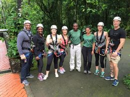 Picture before ziplining with our guides, Katiemo - May 2015