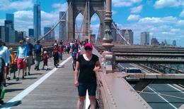 My wife on the Brooklyn Bridge , Nancy B - August 2013
