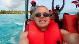 Me in a life jacket for the exhilarating speedboat ride back to the mainland. , Allan - September 2015