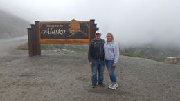We stopped to take a picture with the welcome to Alaska sign , Alyssa E - August 2016