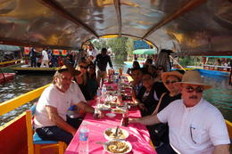 Lunch on our boat in Xochimilco , Debashis C - January 2017
