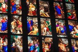 The Bible on stained glass in the Duomo, Milan. , Soumitra B - June 2011