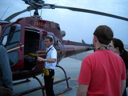 Our pilot James reminding us not to open the doors in flight! , Mark G - March 2011