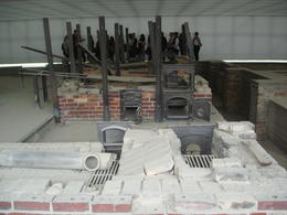 What remains of the crematory ovens in the gas chamber , Marcia S - July 2013