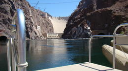 This is a breathtaking view of Hoover Dam from the boat on the Colorado River. This view is a must see and something I will never forget. , Camper Girl - July 2014