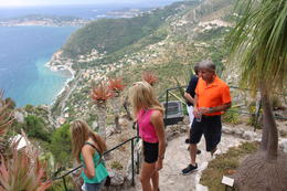 My group (my husband, daughter, friend, and my 82-year old mother!) climbing to the very top to overlook the coastline of Eze. , Trish - July 2014