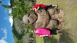Mum and daughter visiting the Marae in Tahiti an ancient sacrificial place. , Tahiti - August 2016