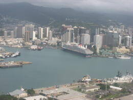 Flying over the dock where the cruises come in at Honolulu., Bandit - February 2011