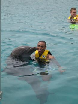 Got a big kiss from the dolphin., Devin D - June 2008