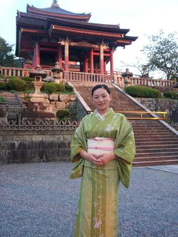 Woman in traditional Japanese dress outside Heian Shrine., Eric H - October 2009
