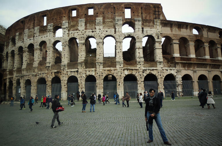 In front of the Colosseum. - Rome