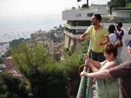 "View is from ""panoramic"" stop during the Naples tour. Photo is of our great tour guide explaining the city. View is westerly toward Mediterranean sea., Robert C - September 2008"