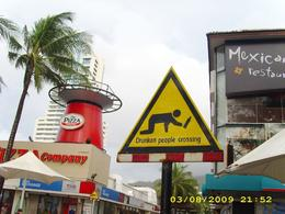 A sign on the Patong beach road, RAGHAVA RAMESH M - October 2009