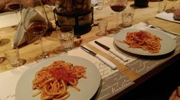 For our main course at the lunch we had a local pasta dish called pici and it was a hit with everyone. We even bought some when we were in Pienza to take home with us. , Heather H - July 2015