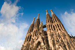 Sagrada Familia, iconic and beautiful fairy tale Cathedral in Barcelona. Antoni Gaudi dedicated his final forty years to the neogothic cathedral, partially completed in 1926, it is now funded by... - May 2011