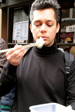 Trying out the chopsticks, Viator Insider - March 2016