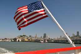 A shot of the bay coast with USA flag. , DZ - June 2014