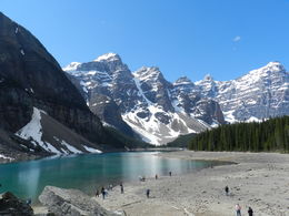 The stunning Morraine Lake, a beautiful glacial lake just outside of Lake Louise. , Amadeo P - August 2016