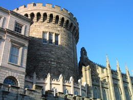 "Shot of Dublin Castle from the back with the last medieval tower on the left side and part of the ""Chapel Royal"" on the right - June 2011"