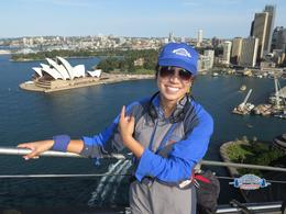 This is me on the top of the bridge, I feel very fortunate I was able to experience this and see Sydney in all its beauty! , Sarah O - October 2014
