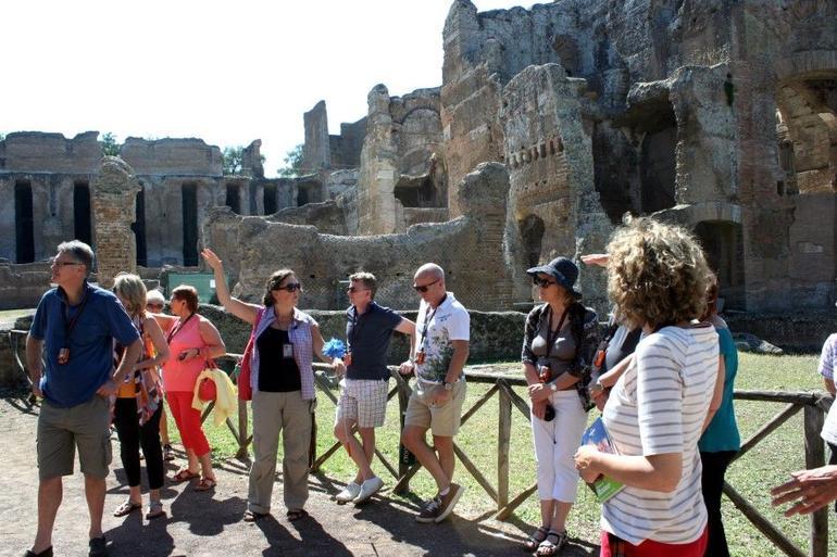 Priscilla shepherding her flock at Hadrian's Villa - Rome
