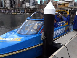 About to get on the jet boat in Sydney Harbour! - February 2012