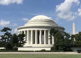 Thomas Jefferson Memorial with Washington Monument in background. One of th stops - you are able to get out and walk around. , Mitzi M - August 2016