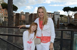 Cherie mom and Morgan daughter in front of Old Roman Ruins just before Jewish ghetto tour. , Cherie B - August 2015