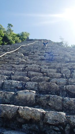 Climbing up Nohoch Mul at Coba on the early morning tour. No one else is in sight! Love it. , Susan B - September 2015