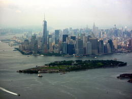 Views from the helicopter of lower Manhattan and Governors Island , Kimbosquest - July 2014