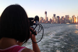 Jules filming the NYC skyline, Jules & Brock - July 2012