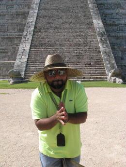 Freddy demonstrating the Mayan early warning system. , Gail R - November 2014