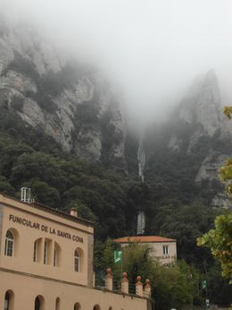 Fog covered peeks on our way to La Santa Cova from the Monastery. , Shaun K - October 2014