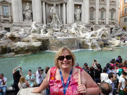 That's me, standing in front of the Trevi Fountain, one of the most romantic spots in all of Rome. We were on our 30th Anniversary trip - my husband would rather take the pictures than be in them. , Kristin L - May 2014