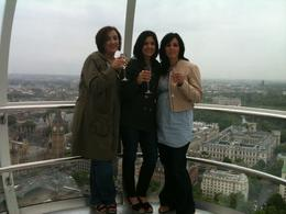 Enjoying our champagne from the London Eye, Travel Mom - July 2011