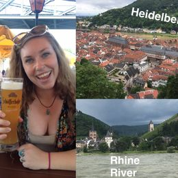 Mickie enjoying a beer on the Rhine river and drinking in the lovely views of the castles and vineyards. A birds eye view of the town of Heidelberg , Theresa M - June 2016
